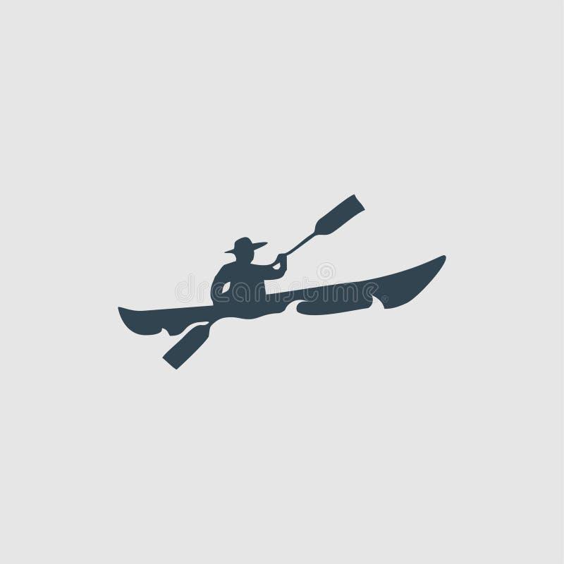 L'inspiration de logo de conception de monogramme de kayak illustration de vecteur
