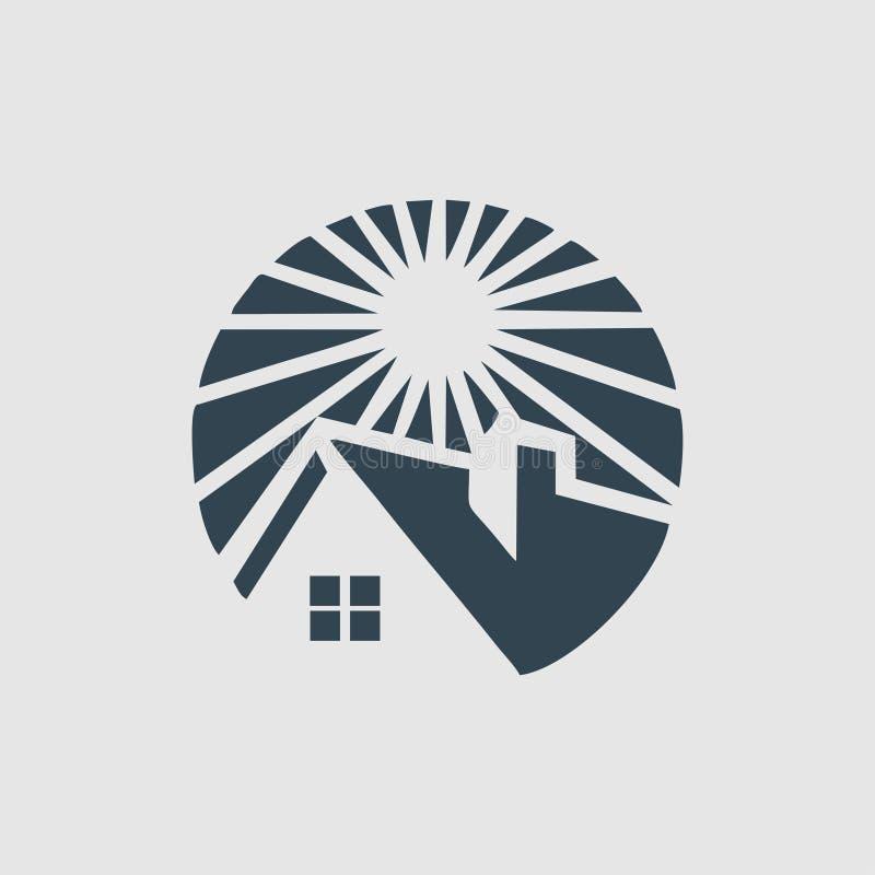 L'inspiration de logo de monogramme de maison et de soleil illustration de vecteur