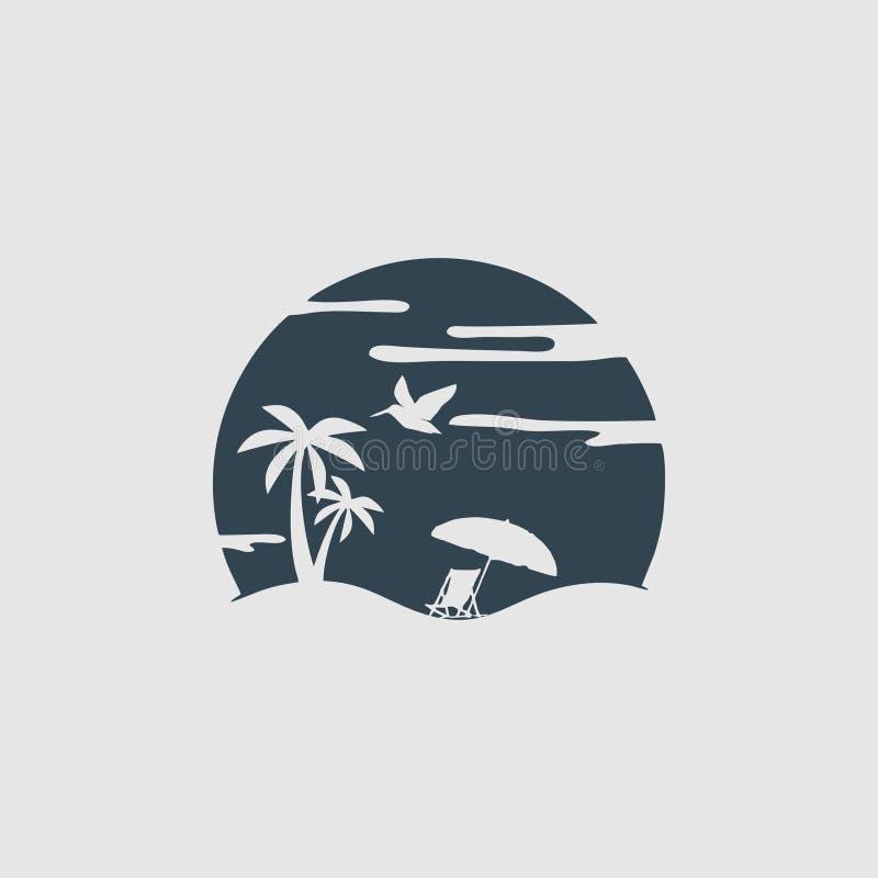L'inspiration de logo de monogramme de plage illustration de vecteur