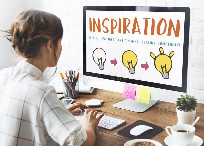 L'inspiration soit concept créatif d'invention de conception image libre de droits