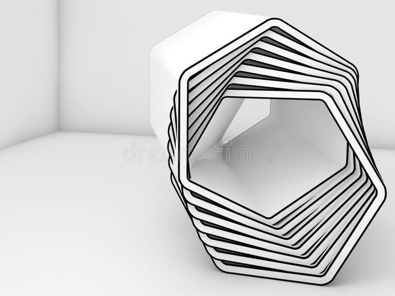 L'installation blanche abstraite avec le noir raye 3d illustration libre de droits