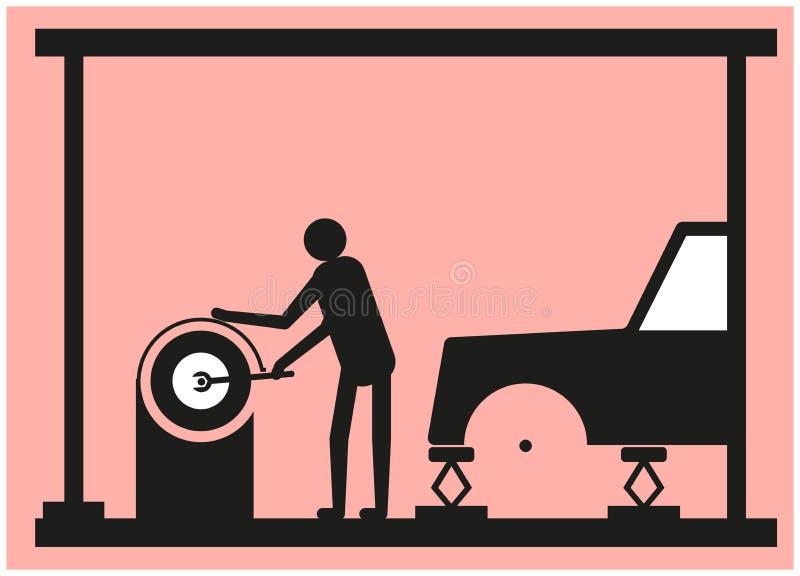 L'installatore della gomma ripara l'azionamento della ruota illustrazione di stock
