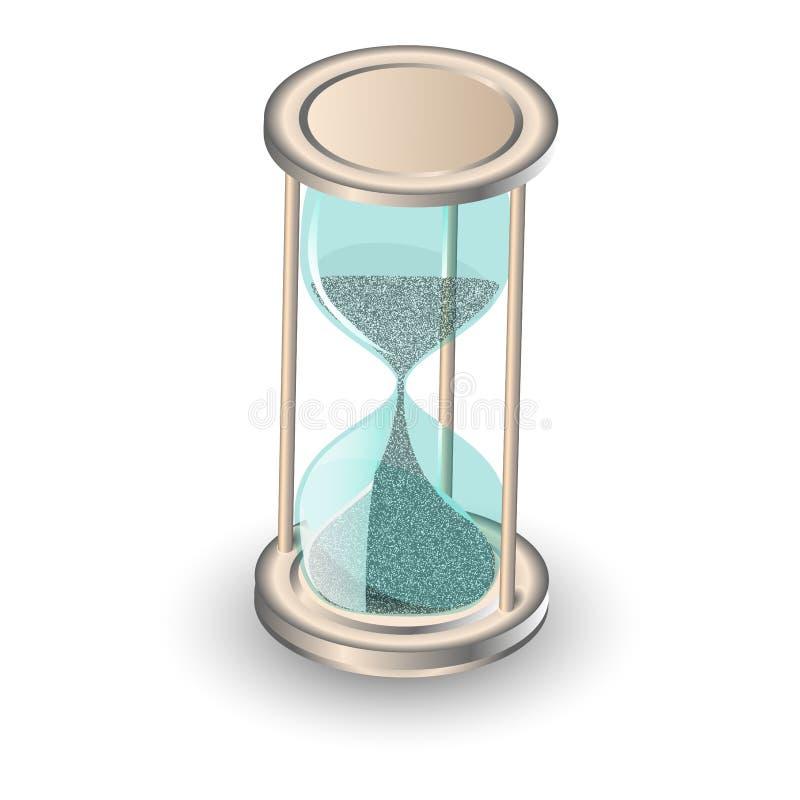 L'instrument ancien en verre d'heure comme le concept de dépassement de temps pour la date limite, l'urgence et le manque de temp illustration libre de droits