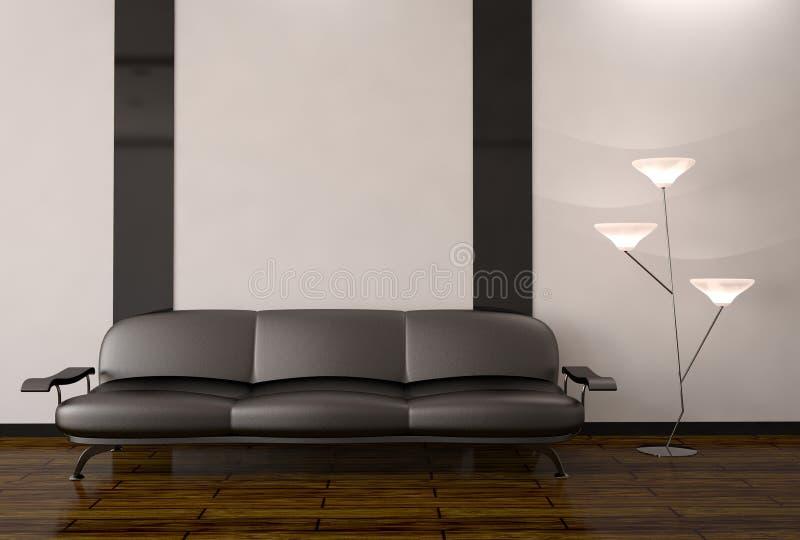 L'intérieur avec le sofa et la lampe illustration de vecteur