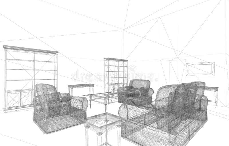 L'intérieur conceptuel rendent illustration stock