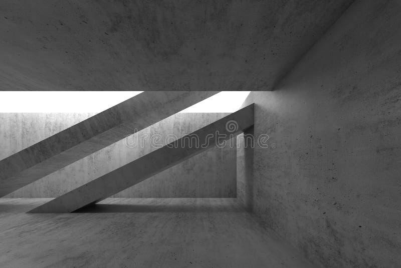 L'intérieur concret foncé vide abstrait 3d rendent illustration de vecteur