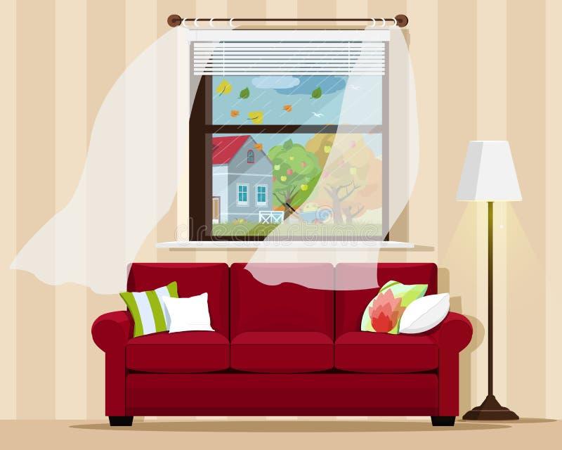 L'intérieur confortable élégant de pièce avec le sofa, la lampe, la fenêtre et l'automne aménagent en parc Style plat illustration stock