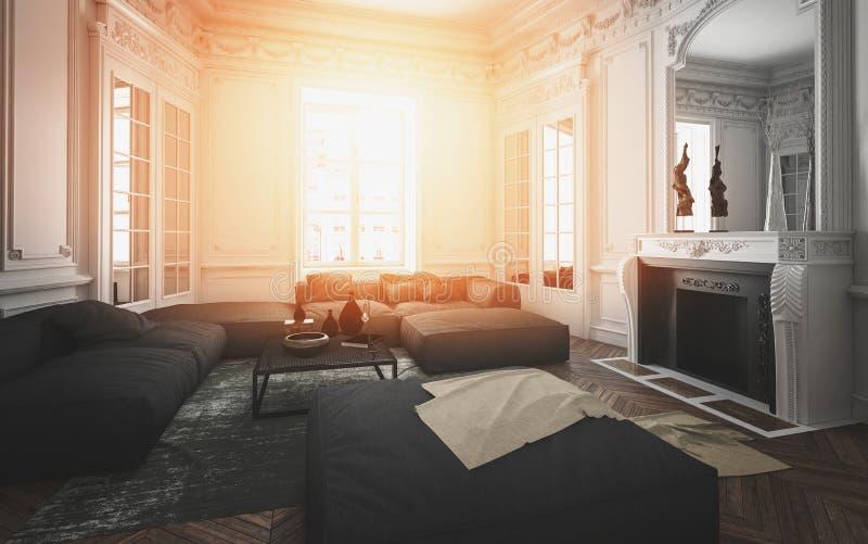 L'intérieur confortable de salon s'est allumé par une lueur chaude illustration de vecteur