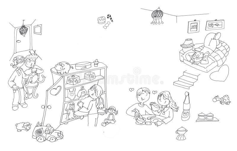 L'intérieur d'une vie à la maison de fille grande sur la fille de lit ouvre son cabinet, et les grands-parents viennent chez la illustration libre de droits