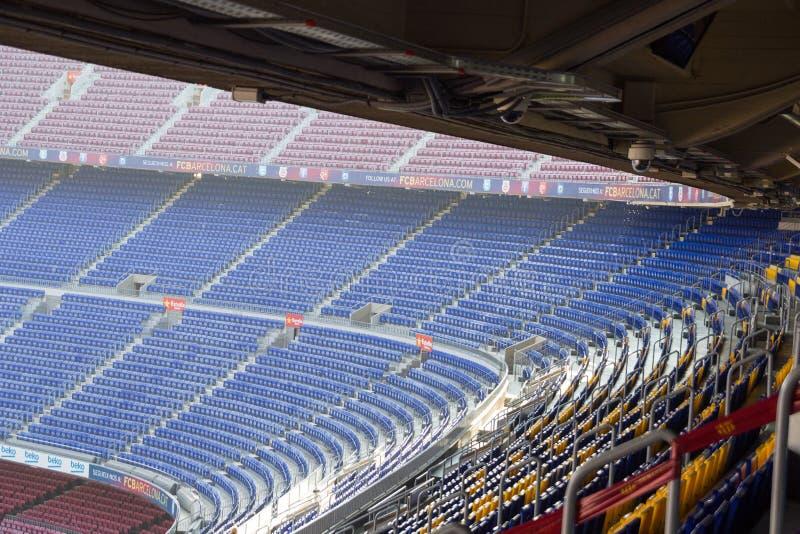 L'intérieur de Camp Nou de stade de football se tient à Barcelone photo libre de droits