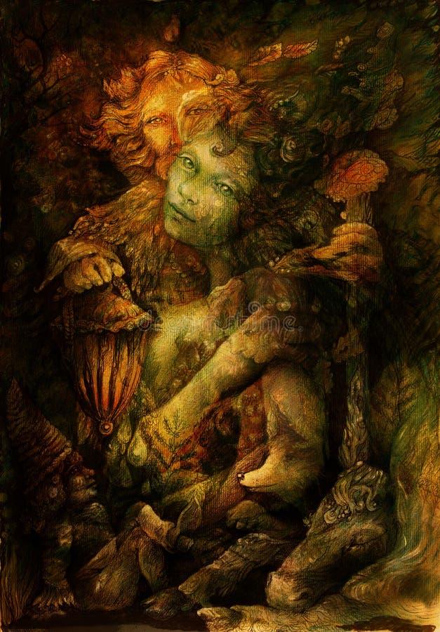 L'intérieur de deux elfes profondément a enchanté le royaume de nature, illustration illustration stock