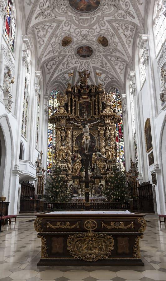 L'intérieur de l'église de l'acceptation de Mary Landsberg am Lech, Allemagne, image stock