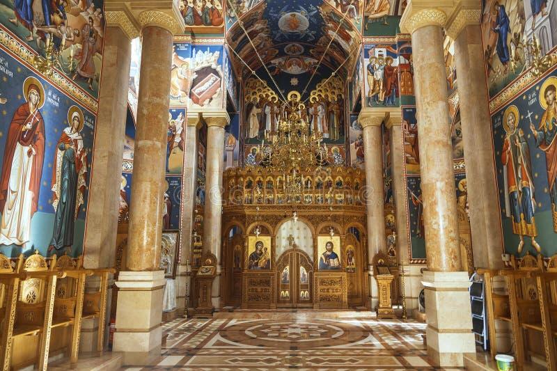 L'intérieur de l'église orthodoxe roumaine de la nativité à Jéricho photo stock