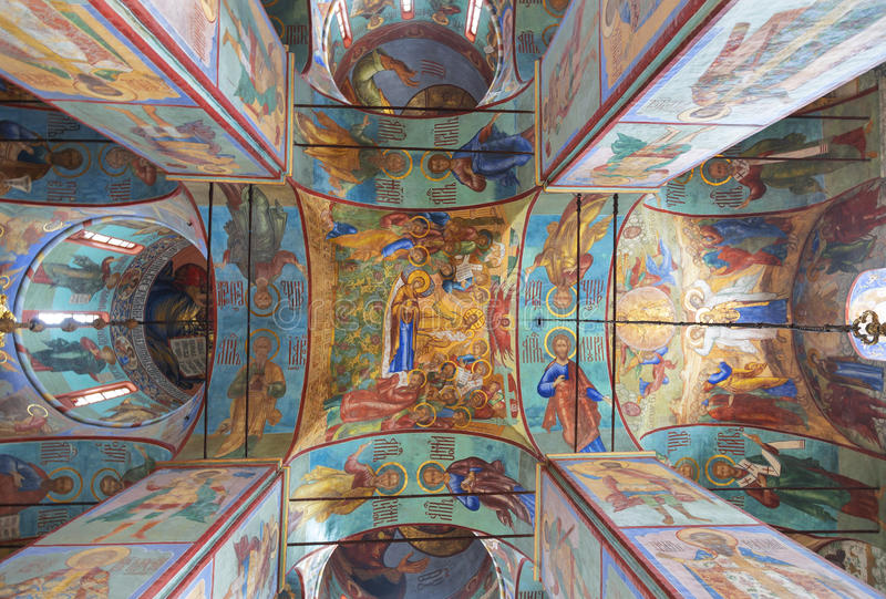 L'intérieur de la cathédrale d'hypothèse de la trinité-Sergius Lavra, Sergiev Posad, région de Moscou photos libres de droits