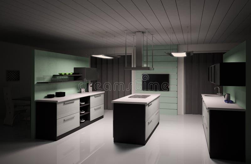 L'intérieur de la cuisine moderne 3d rendent illustration stock