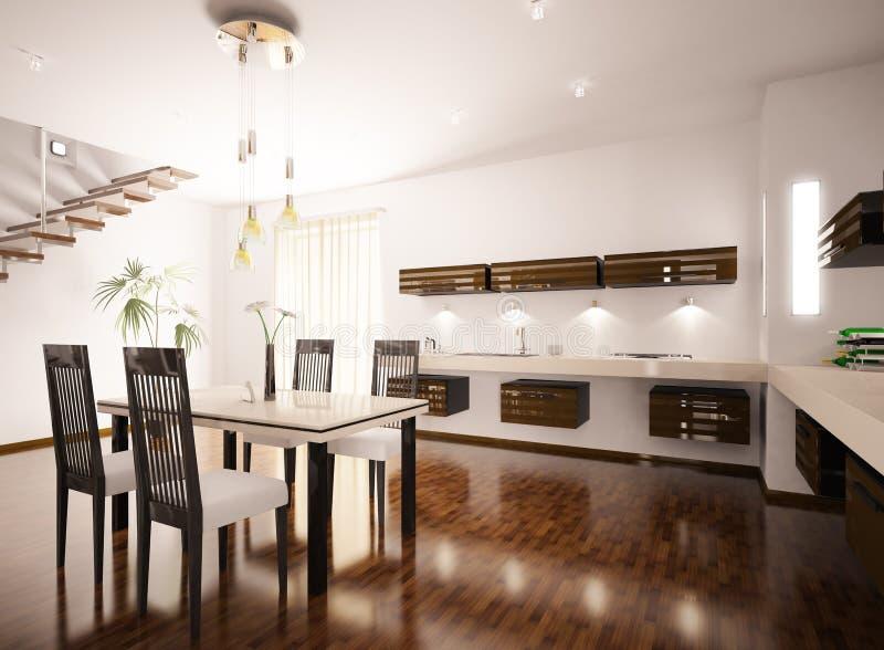 L'intérieur de la cuisine moderne 3d rendent illustration libre de droits