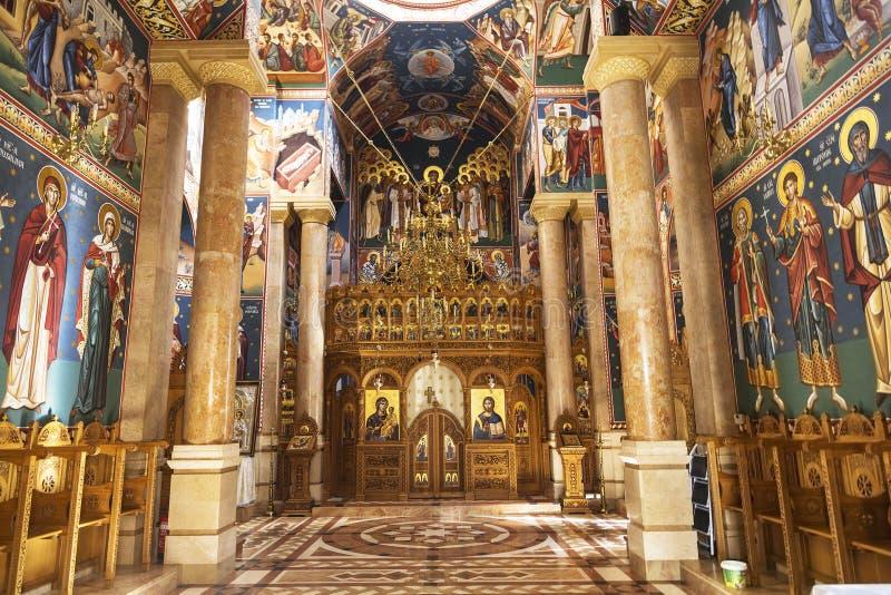 L'intérieur de la nativité roumaine d'église orthodoxe de la vierge à Jéricho image libre de droits