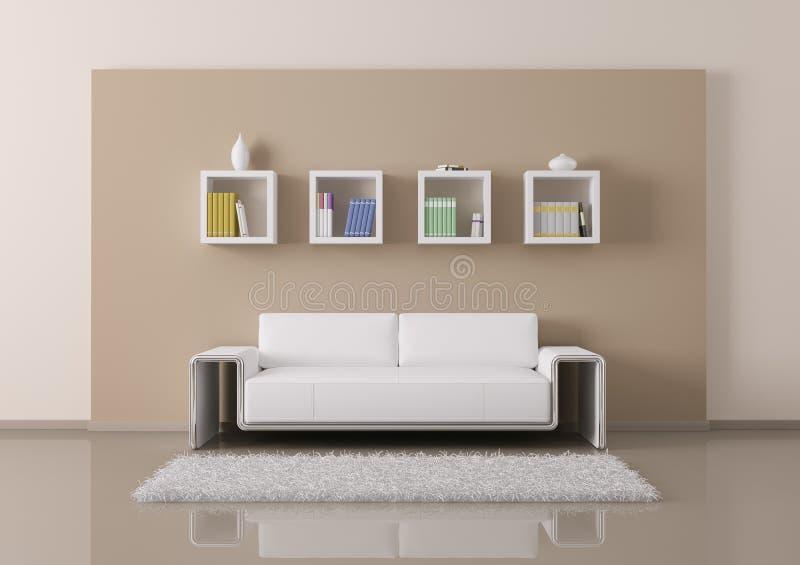 L'intérieur de la pièce avec le sofa et les étagères 3d rendent illustration stock