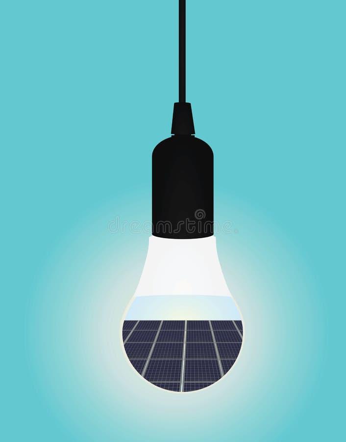 L'intérieur de panneaux solaires a mené l'ampoule illustration stock
