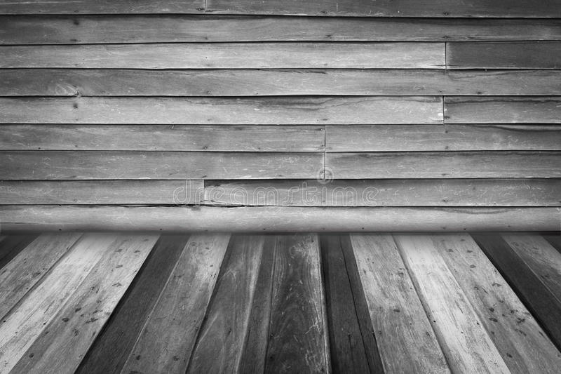 L'intérieur de pièce avec le vieux mur en bois et le bois parquettent le fond, bl photographie stock libre de droits
