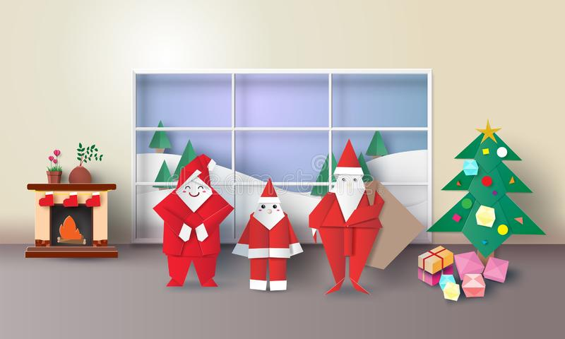 L'intérieur de pièce de Noël avec le père noël, sapin, présente l'origami, et la cheminée, style de l'art 3D de papier d'illustra illustration libre de droits