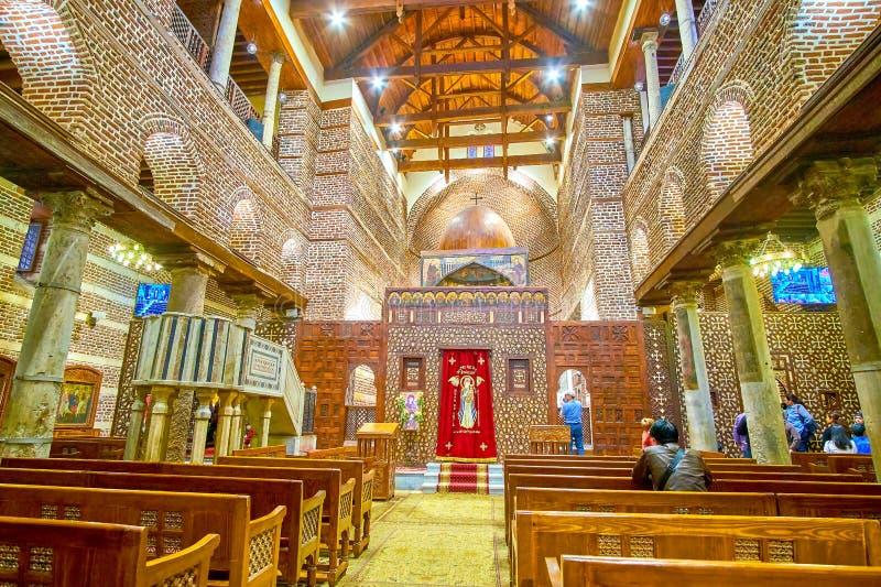 L'intérieur de St Barbara Church au Caire, Egypte image libre de droits