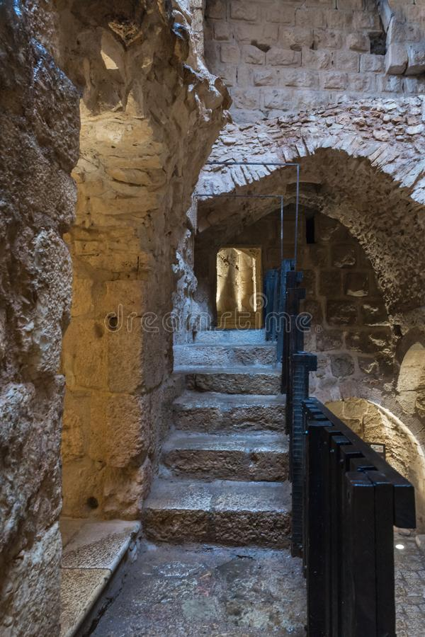 L'intérieur du château d'Ajloun, également connu sous le nom de Qalat AR-Rabad, est un château musulman du 12ème siècle situé en  photo stock