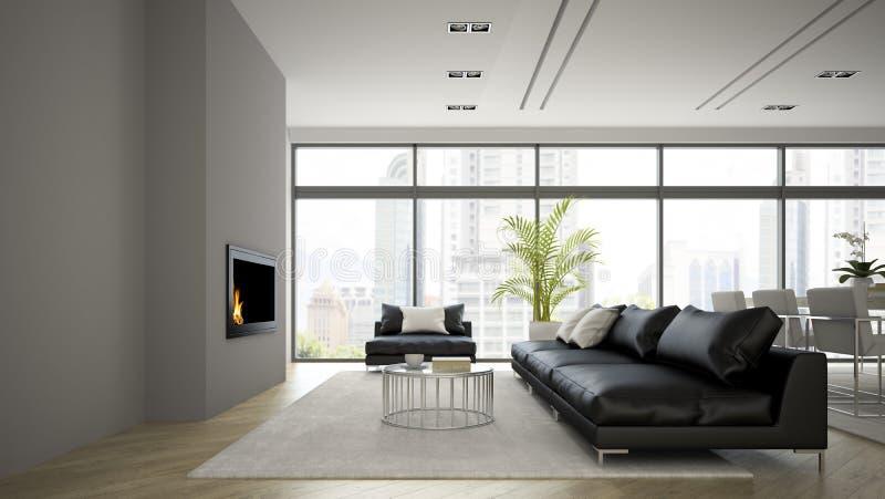 L'intérieur du grenier moderne avec la cheminée et le sofa noir 3D rendent illustration de vecteur