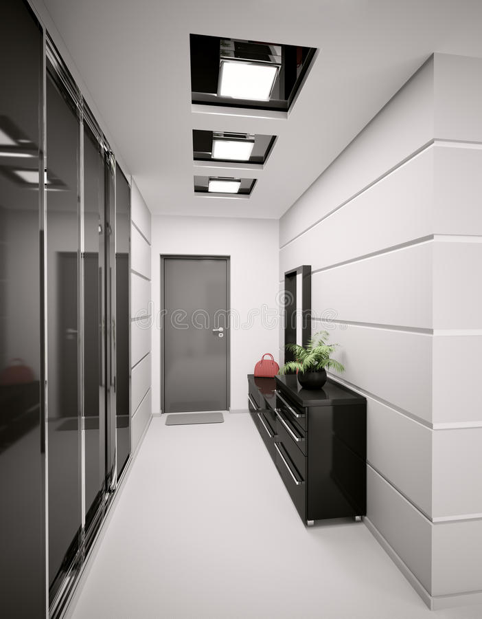 L'intérieur du hall d'entrée moderne 3d rendent illustration de vecteur