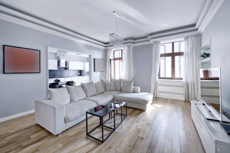 L\'intérieur Du Salon Moderne Dans Le Blanc Photo stock ...