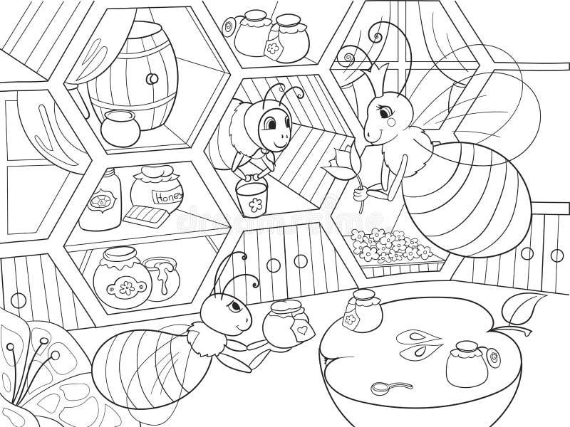 L'intérieur et la vie de famille des abeilles dans la coloration de maison pour la bande dessinée d'enfants dirigent l'illustrati illustration stock