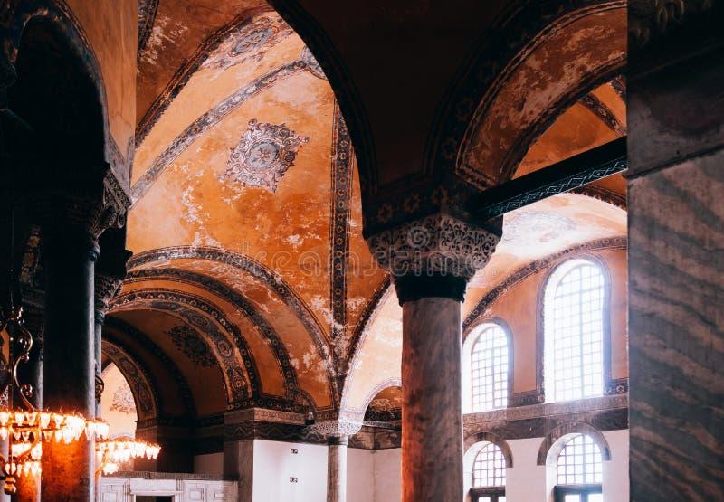 L'intérieur extraordinaire de Hagia Sophia détaille Istanbul Turquie - AR images libres de droits
