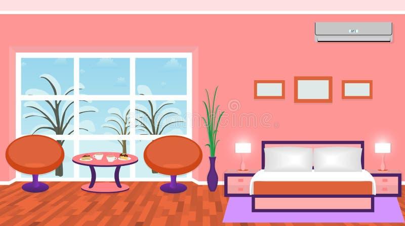 L'intérieur lumineux de chambre à coucher avec les meubles modernes et l'hiver aménagent en parc en dehors de la fenêtre illustration stock