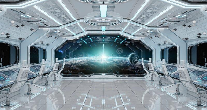 L'intérieur propre blanc de vaisseau spatial avec la vue sur terre 3D de planète les déchirent illustration de vecteur