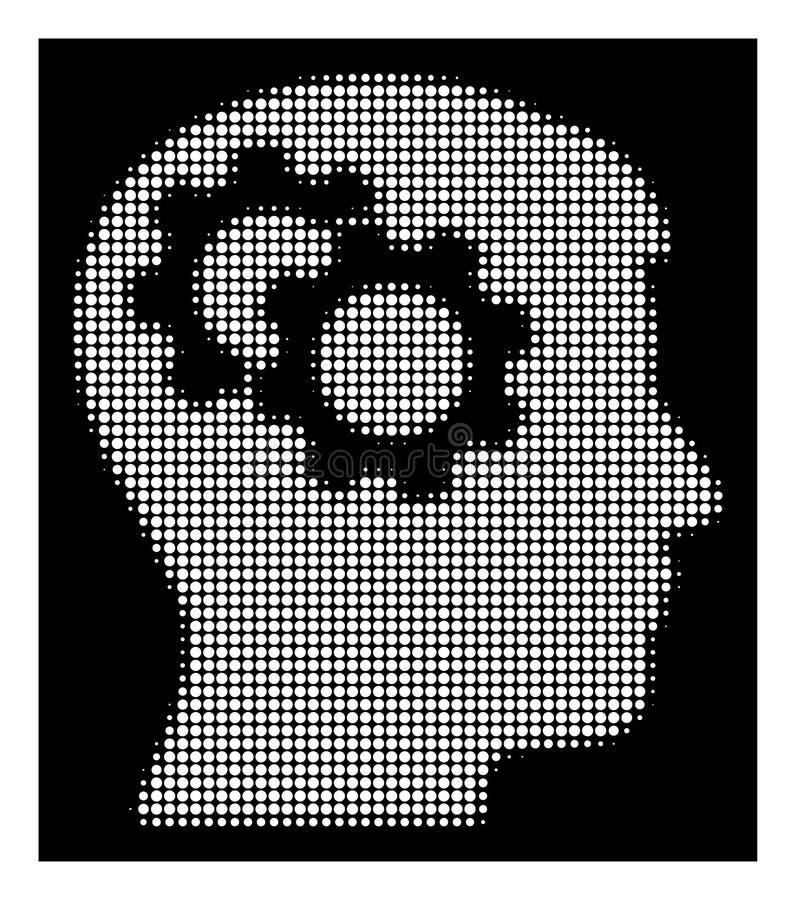 L'intellect tramé blanc embraye l'icône illustration de vecteur