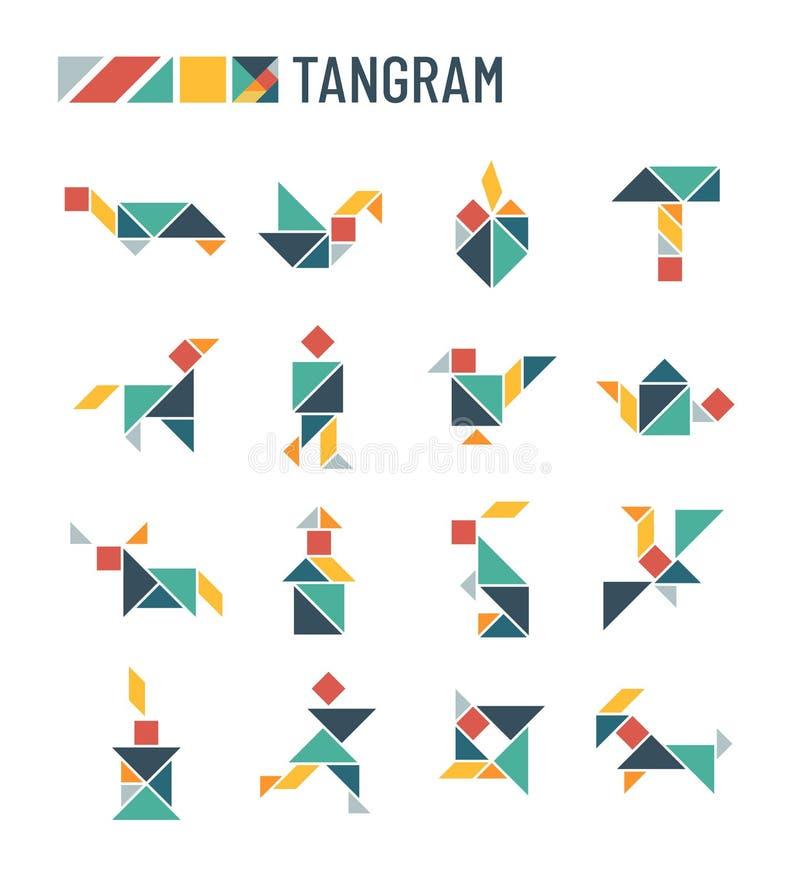 L'intellectuel de coupe de formes de puzzle chinois badine le jeu - ensemble de vecteur d'origami de tangram illustration de vecteur