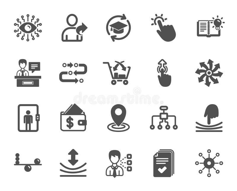 L'intelligence artificielle, équilibre et se réfèrent des icônes d'un ami Formation permanente Vecteur illustration de vecteur