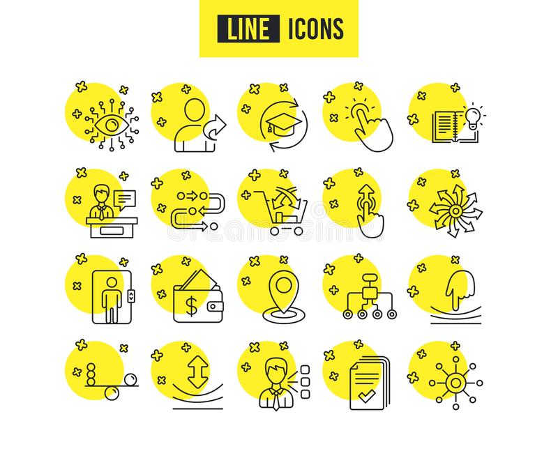 L'intelligence artificielle, équilibre et se réfèrent une ligne icônes d'ami Formation permanente Vecteur illustration stock