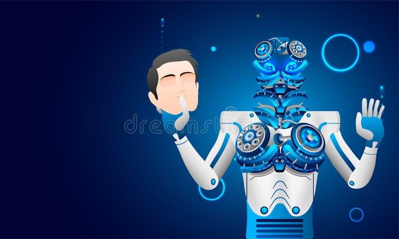 L'intelligence artificielle (AI), le robot ou le cyborg enlève l'anthropomo illustration stock
