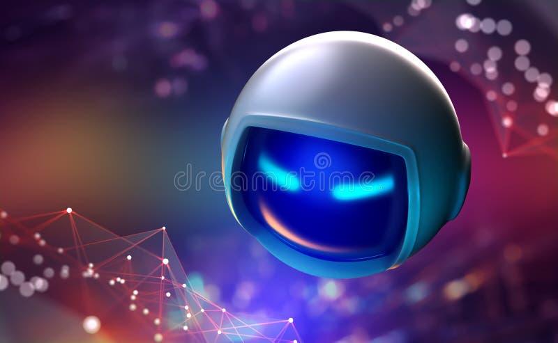 L'intelligence artificielle analyse l'information. Ère du contrôle mondial dans le monde de demain illustration de vecteur