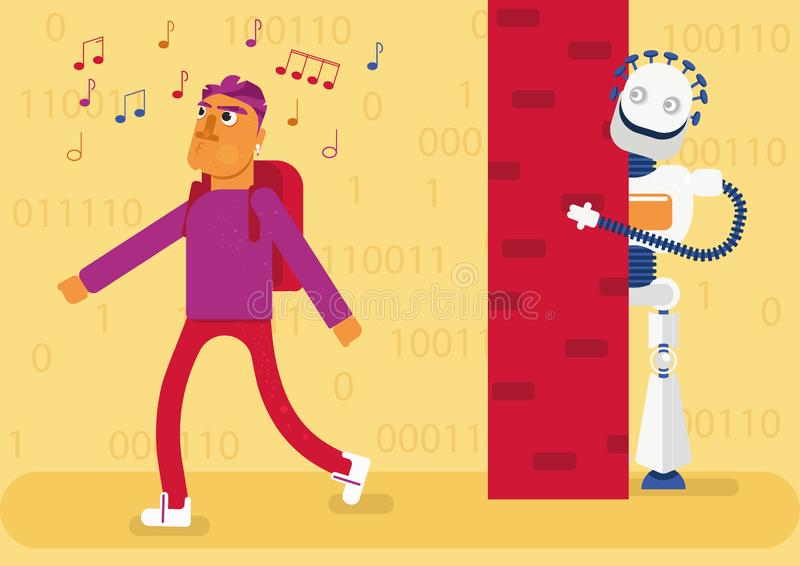 L'intelligence artificielle détecte toute notre activité dans l'Internet et crée l'image de qui nous sommes, ce que nous aimons,  illustration libre de droits