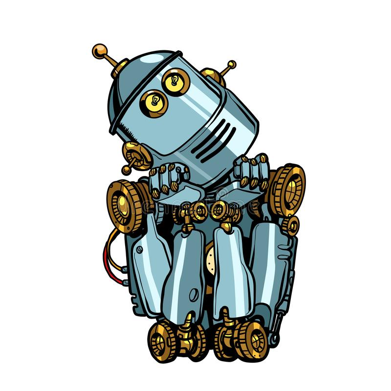 L'intelligence artificielle de robot pense des r?ves Isolat sur le fond blanc illustration de vecteur