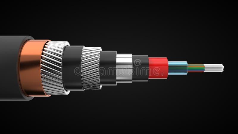 L'inter cavo continentale di Internet ha tagliato interno di rappresentazione del cavo sottomarino illustrazione 3D illustrazione vettoriale