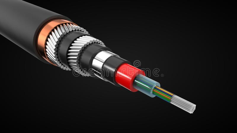 L'inter cavo continentale di Internet ha tagliato interno di rappresentazione del cavo sottomarino illustrazione 3D illustrazione di stock