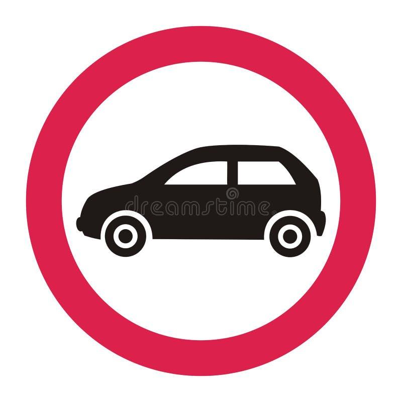 L'interdiction de l'entrée de tous les véhicules à moteur, poteau de signalisation illustration stock