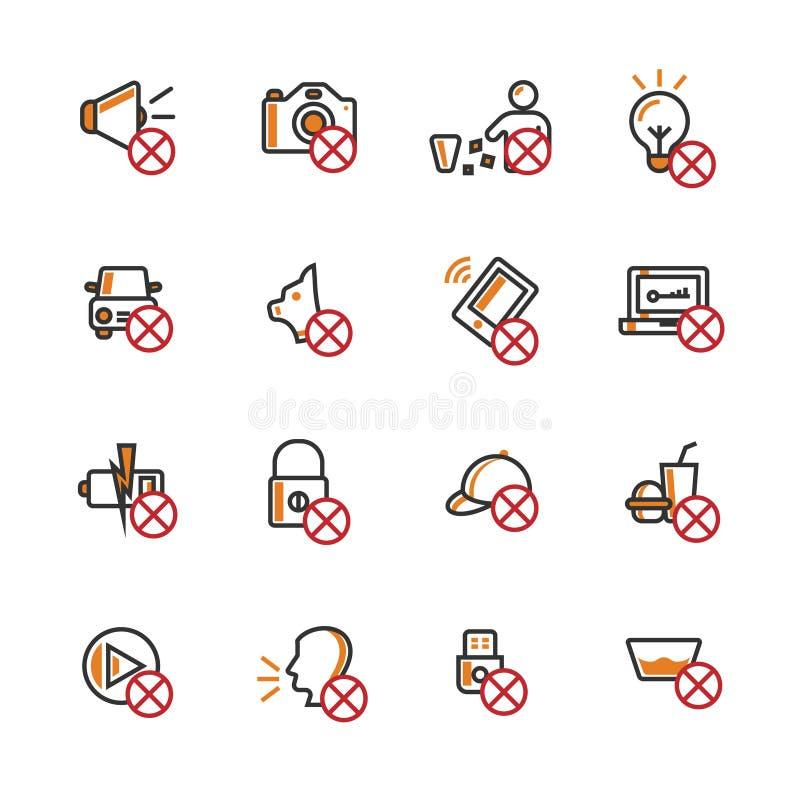 L'interdiction a rempli ensemble d'icône d'ensemble illustration libre de droits