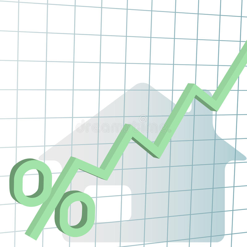 L'interesse da contratto ipotecario domestico valuta l'più alto diagramma illustrazione di stock