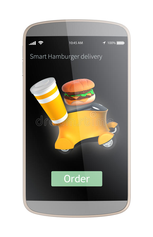 L'interfaccia dei apps dello Smart Phone per l'hamburger di ordine e consegna in macchina del robot illustrazione di stock