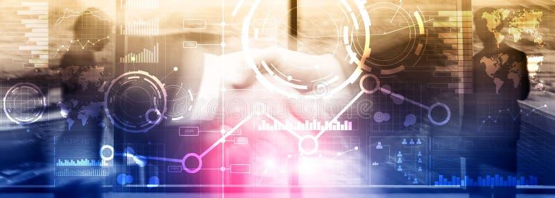 L'interfaccia di affari ha mescolato il diagramma e l'icona finanziari del grafico del grafico della doppia esposizione di media  illustrazione di stock