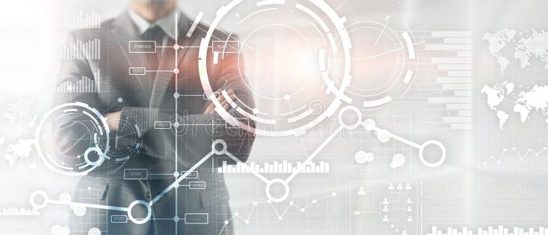 L'interfaccia di affari ha mescolato il diagramma e l'icona finanziari del grafico del grafico della doppia esposizione di media  illustrazione vettoriale